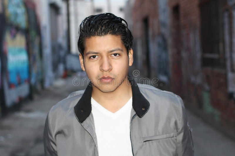 Beauty Portrait of Handsome Hispanic Young Male Outdoors royalty free stock photography