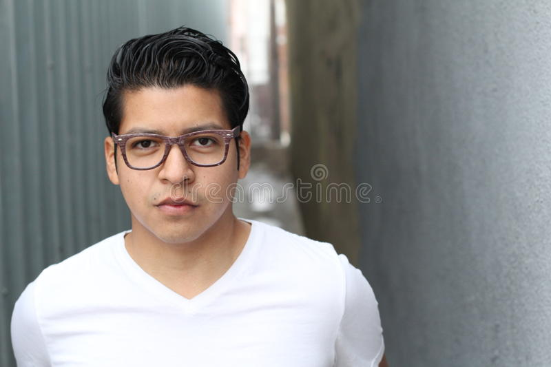 Beauty Portrait of Handsome Hispanic Young Male, Outdoors, Copy Space - Stock image stock images