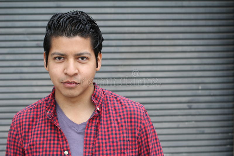Beauty Portrait of Handsome Hispanic Young Male, Smiling Outdoors- Stock image royalty free stock image