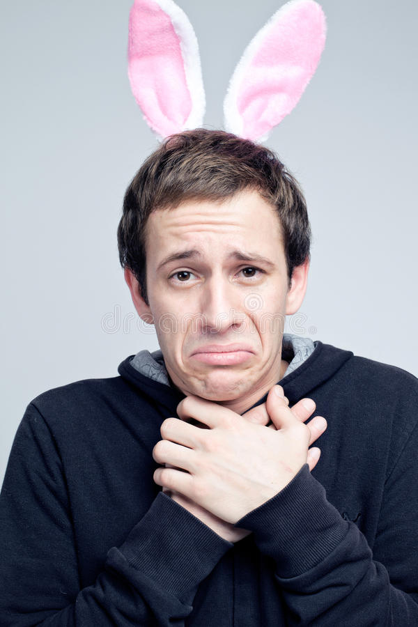 Beauty portrait of handsome man with bunny ears