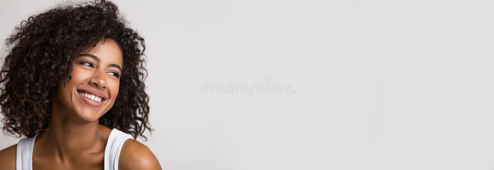 Beauty portrait of happy african american woman royalty free stock photos