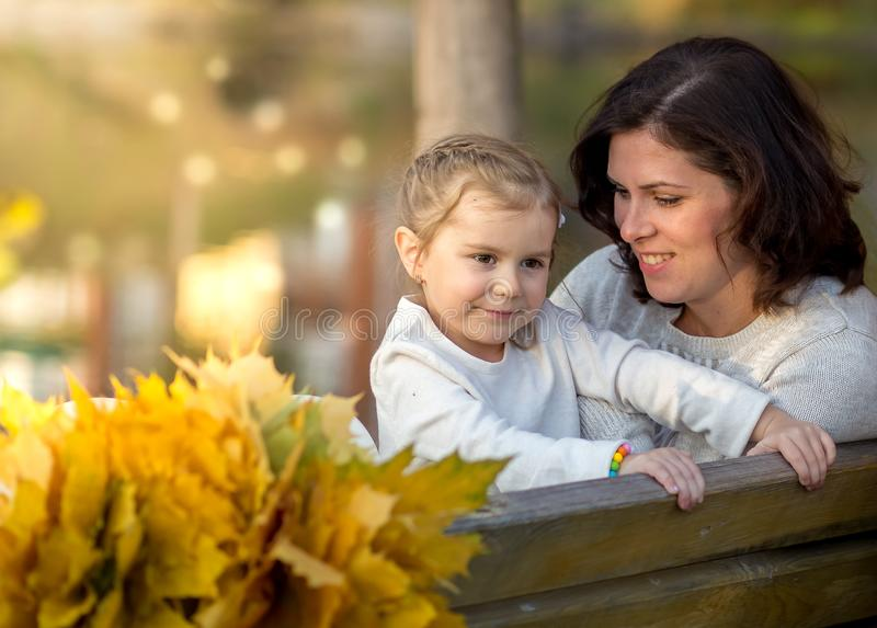 Beauty portrait of mother and daughte. Mothers day stock photo