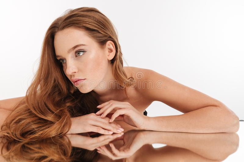 Beauty portrait of mystery ginger woman with long hair royalty free stock images