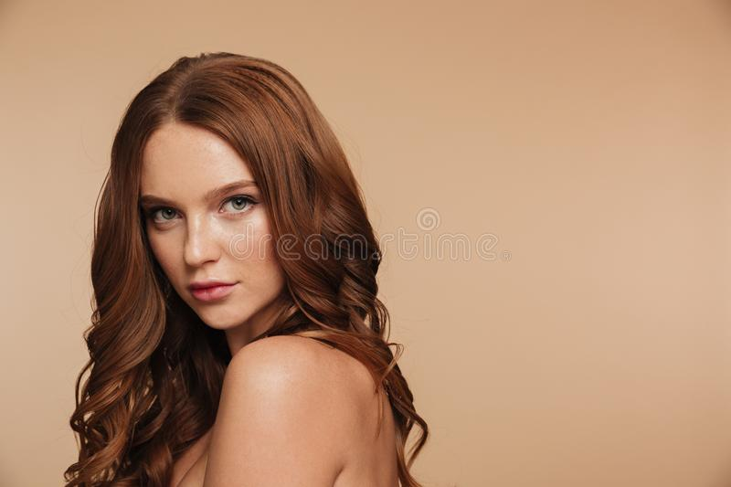 Beauty portrait of mystery ginger woman with long hair posing stock photos