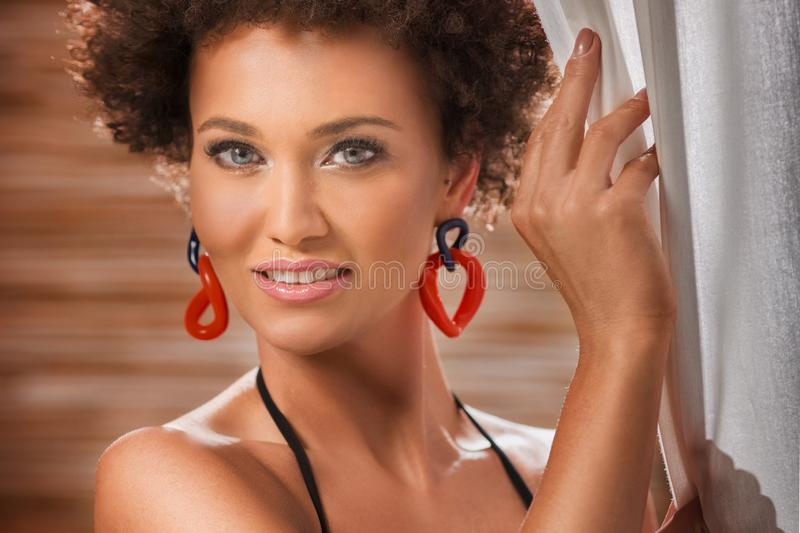 Beauty portrait of natural girl with afro royalty free stock images