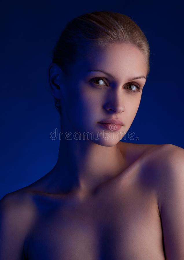 Beauty portrait natural makeup and creative light royalty free stock photography