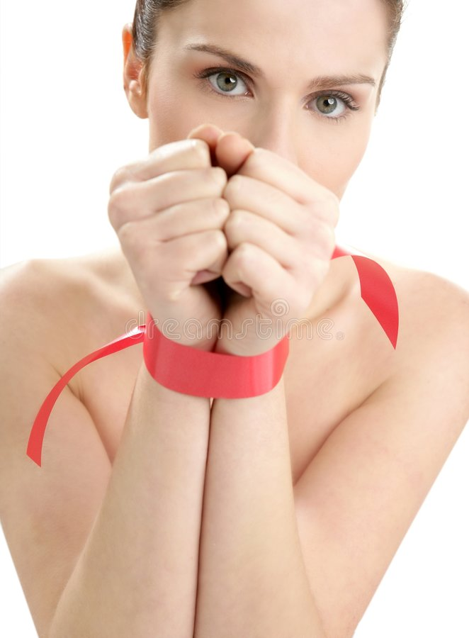 Free Beauty Portrait Of Funny Tied Hands Woman Stock Image - 8066131