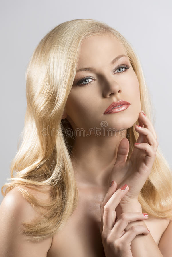 Beauty portrait of pretty blonde girl royalty free stock photos
