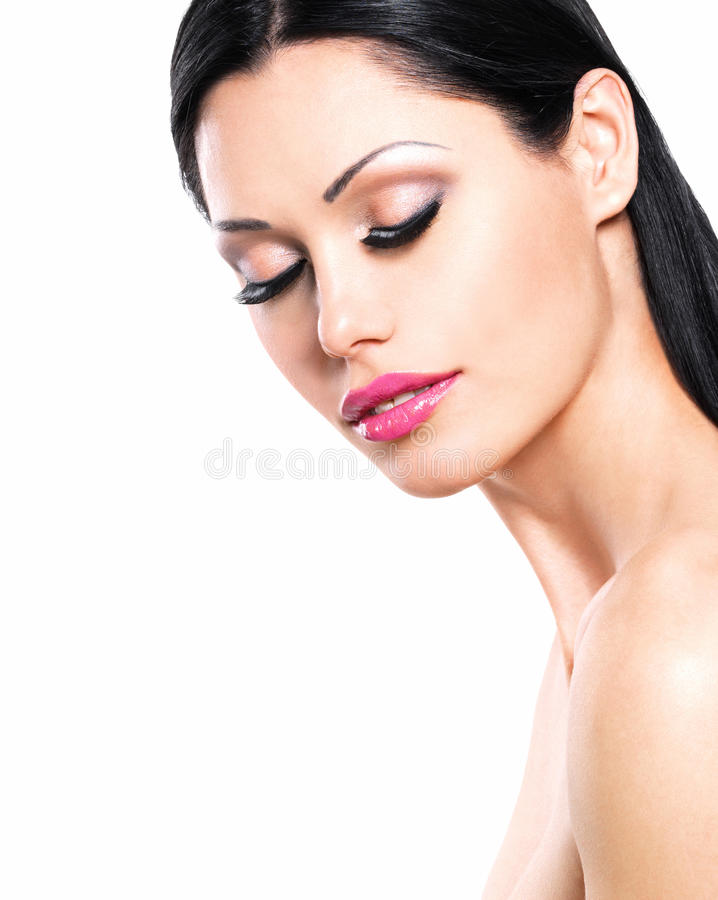 Beauty portrait of the pretty woman with closed eyes stock photo