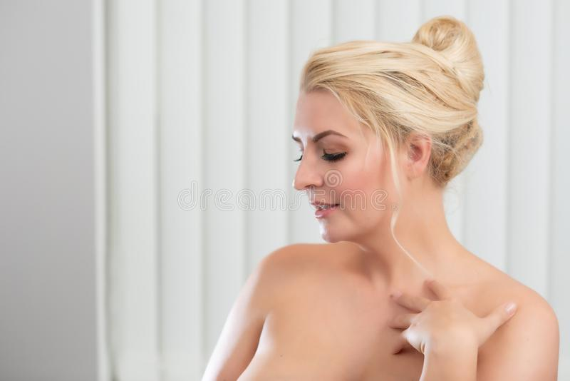 Beauty Portrait Of Blond Haired Woman royalty free stock photography