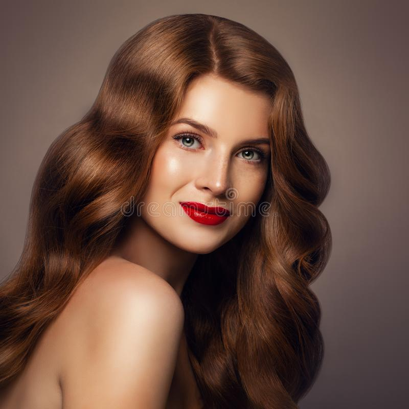 Beauty Portrait of Redhead Fashion Model Woman stock photos