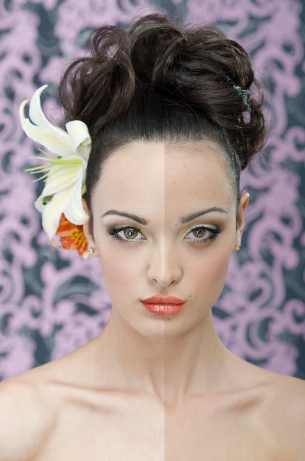 Beauty portrait retouching royalty free stock photo