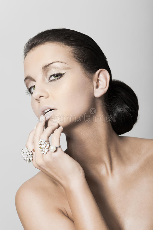 Download Beauty portrait with rings stock image. Image of glamour - 18419913