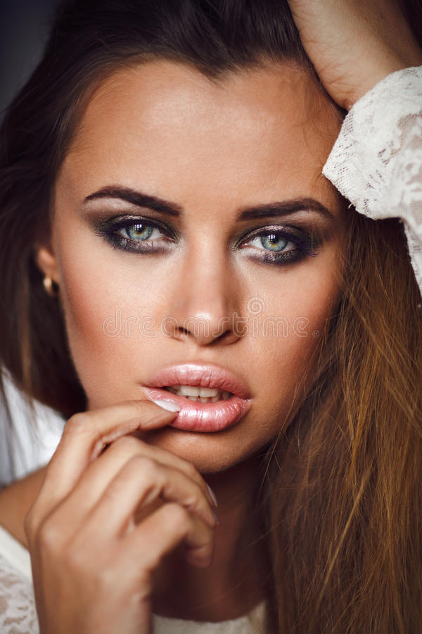 Beauty portrait of woman. Perfect make-up royalty free stock photo