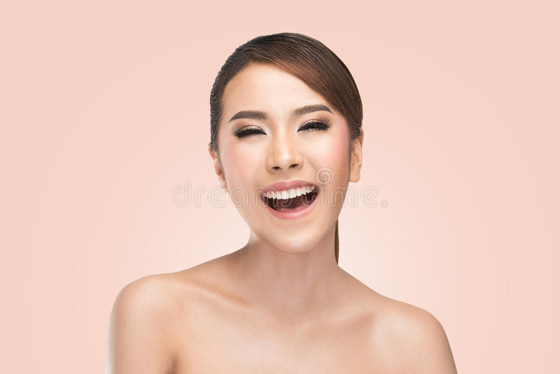 Beauty portrait of skin care beauty woman laughing smiling happy and cheerful. stock photos