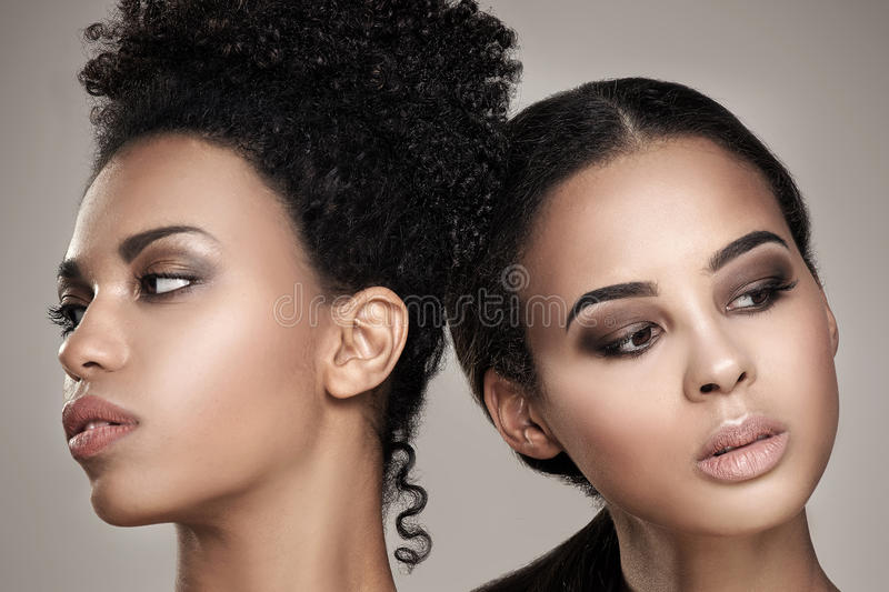 Beauty portrait of two african american girls. royalty free stock photos