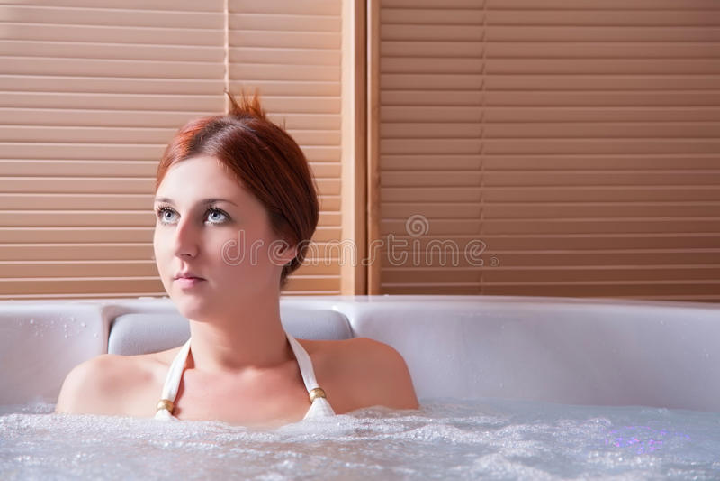 Beauty portrait in water stock image