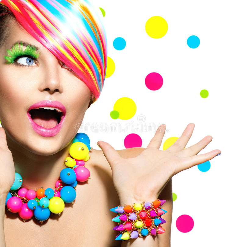 Free Beauty Portrait With Colorful Makeup Stock Images - 40153034