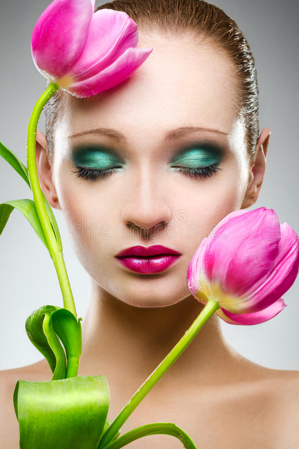 Free Beauty Portrait With Tulips Stock Images - 29930144