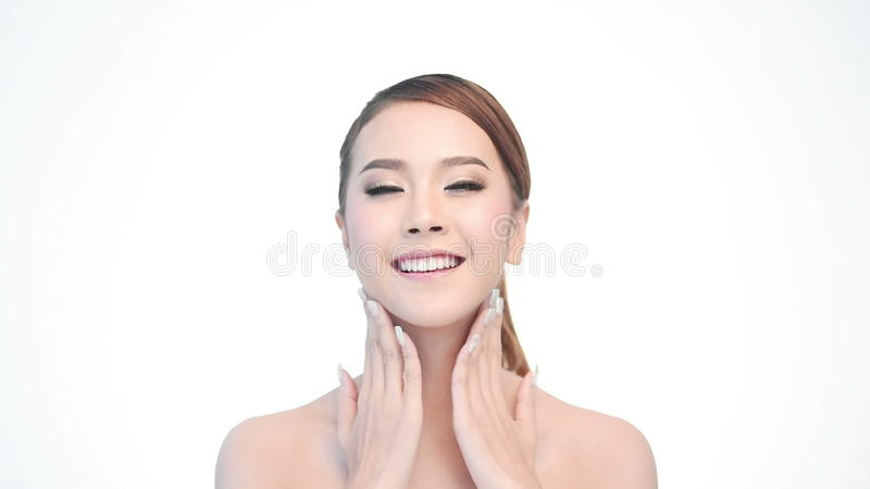 Beauty Portrait Of Woman Beautiful Face In Skincare Concept Stock Footage Video Of Isolated Apply 59198088