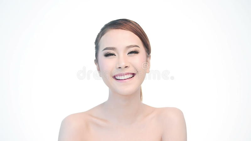 Beauty Portrait Of Woman Beautiful Face In Skincare Concept Stock Footage Video Of Caucasian Female 59198176