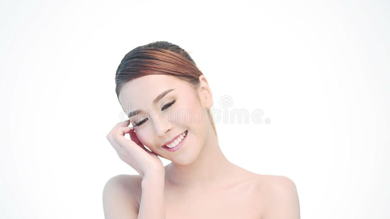 Beauty Portrait Of Woman Beautiful Face In Skincare Concept Stock Video Video Of Happiness Cheerful 59224835