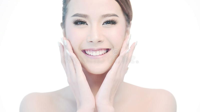 Beauty Portrait Of Woman Beautiful Face In Skincare Concept Stock Video Video Of Hand Healthy 59224989