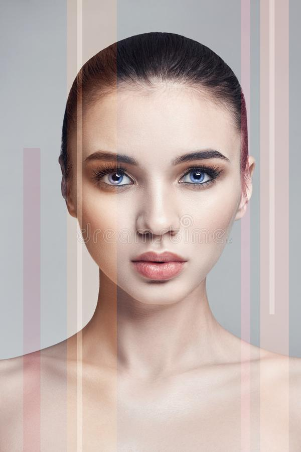 Beauty portrait of a woman with noise strips, makeup facial care stock photo