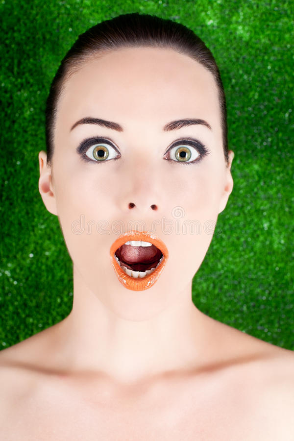 Beauty portrait woman surprised stock images