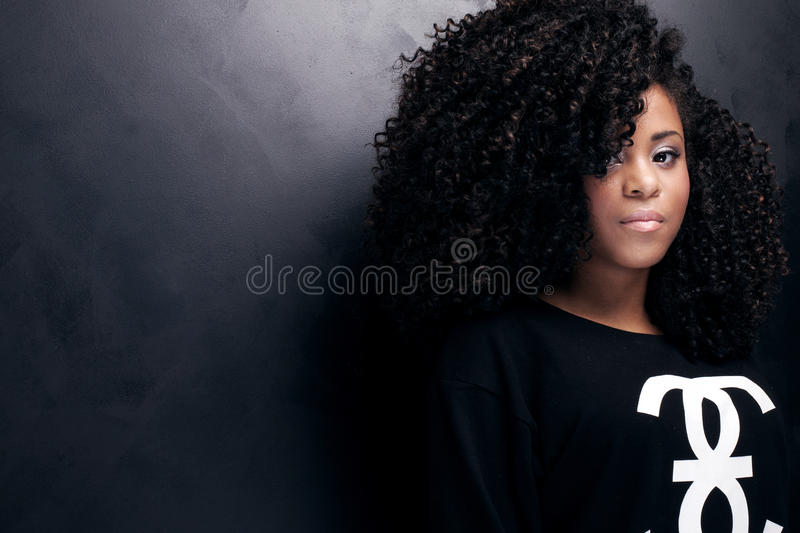 Beauty portrait of young african american girl. stock photos