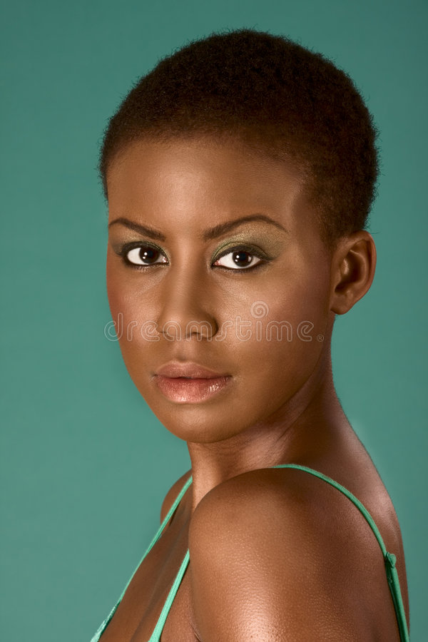 Beauty portrait of young African American woman stock photos