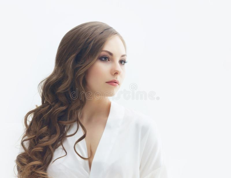 Beauty portrait of young and attractive girl. Make-up and cosmetics concept. Beauty portrait of young and attractive woman. Make-up and cosmetics concept stock photo