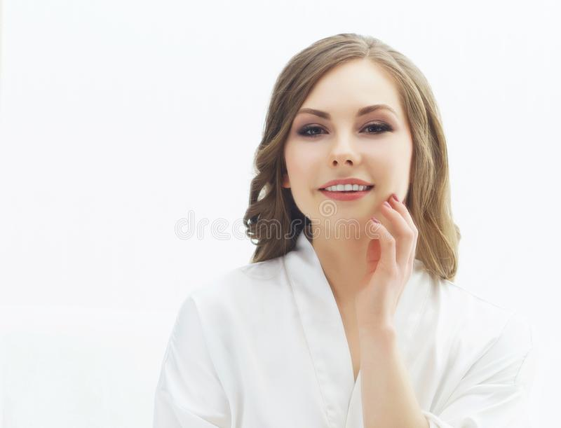 Beauty portrait of young and attractive girl. Make-up and cosmetics concept. Beauty portrait of young and attractive woman. Make-up and cosmetics concept stock photos