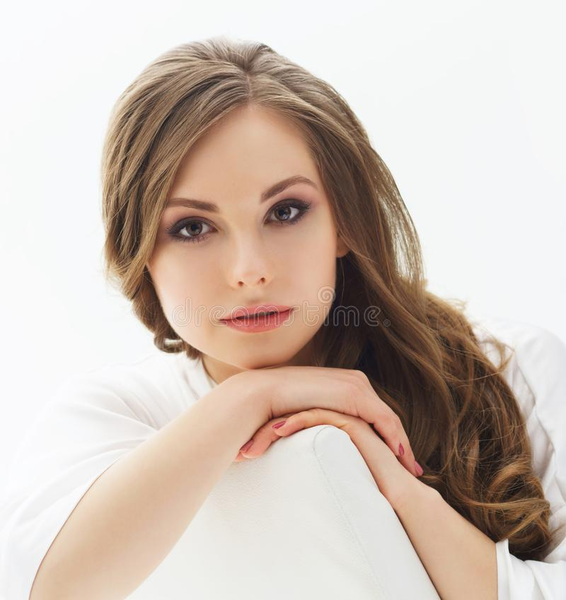 Beauty portrait of young and attractive girl. Make-up and cosmetics concept. Beauty portrait of young and attractive woman. Makeup and cosmetics concept royalty free stock images