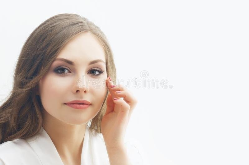 Beauty portrait of young and attractive girl. Make-up and cosmetics concept. Beauty portrait of young and attractive woman. Make-up and cosmetics concept stock image