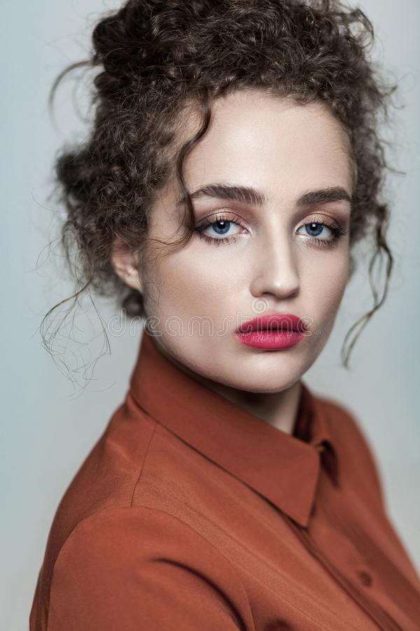Beauty portrait of young beautiful fashion model with collected stock photos