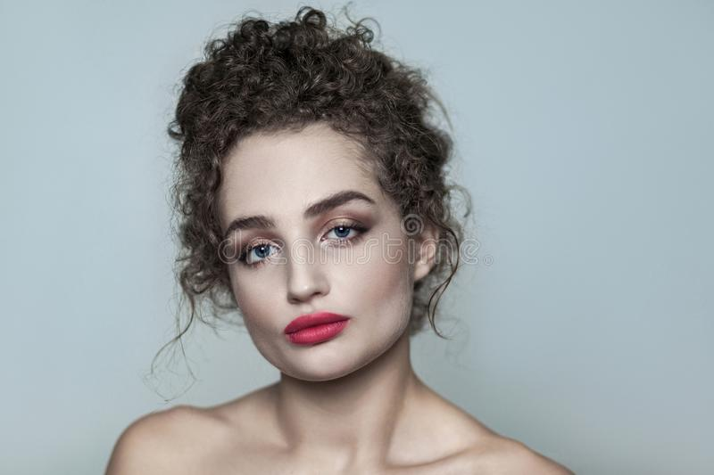 Beauty portrait of young beautiful naked fashion model with coll royalty free stock images