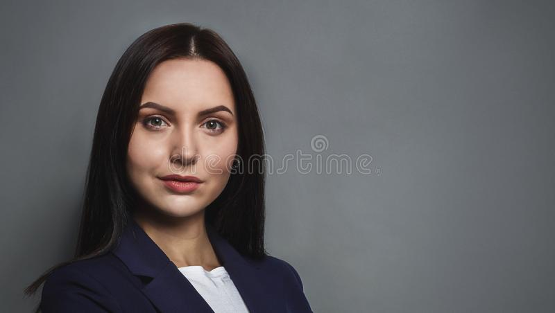 Beauty portrait of young beautiful woman, free space royalty free stock images