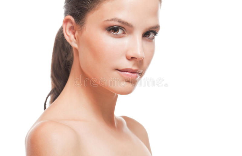 Beauty portrait, young brunette. stock photography