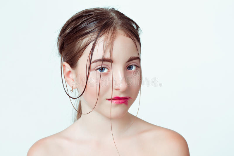 Beauty portrait of young girl. Morning image with royalty free stock image