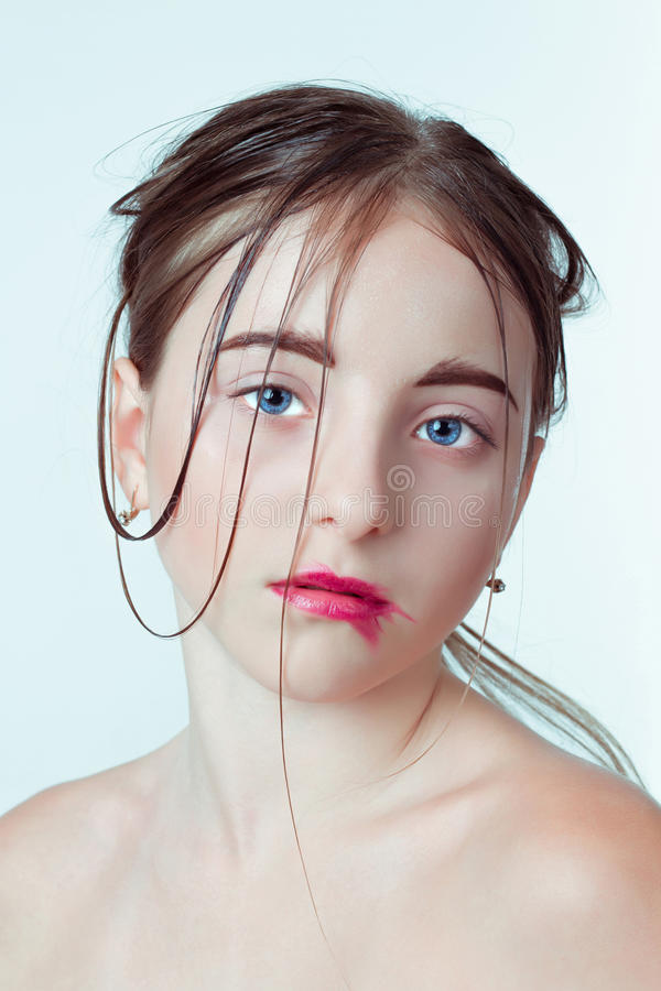 Beauty portrait of young girl. Morning image with stock photo
