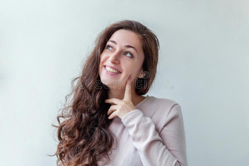 Beauty portrait young happy positive brunette woman on white background royalty free stock photos