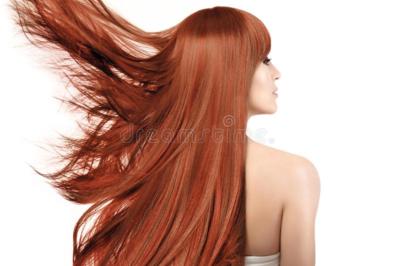 Beauty portrait of a woman with dyed long hair with highlights. Beauty portrait of a young redhead woman with healthy long hair in a copper color with highlights royalty free stock photography