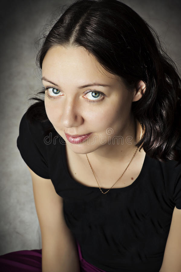 Beauty portrait of young smiling woman. stock images