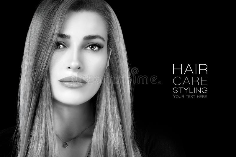 Beauty portrait of a young woman with healthy long hair. Haircare and hairstyle products royalty free stock images