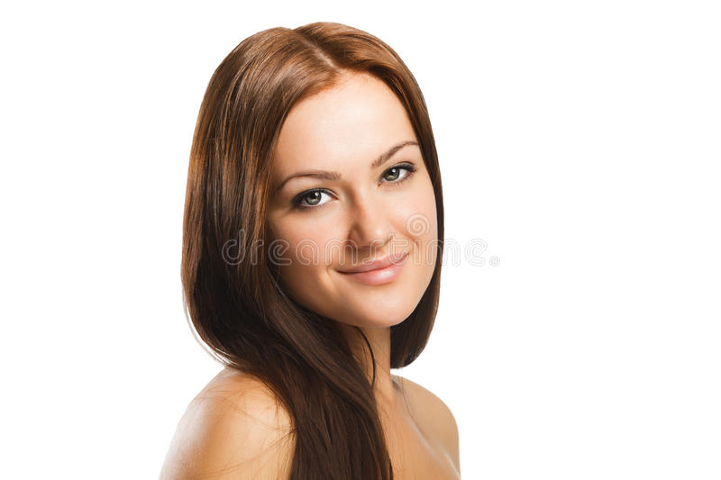 Beauty portrait of young woman with natural makeup isolated in w royalty free stock photo