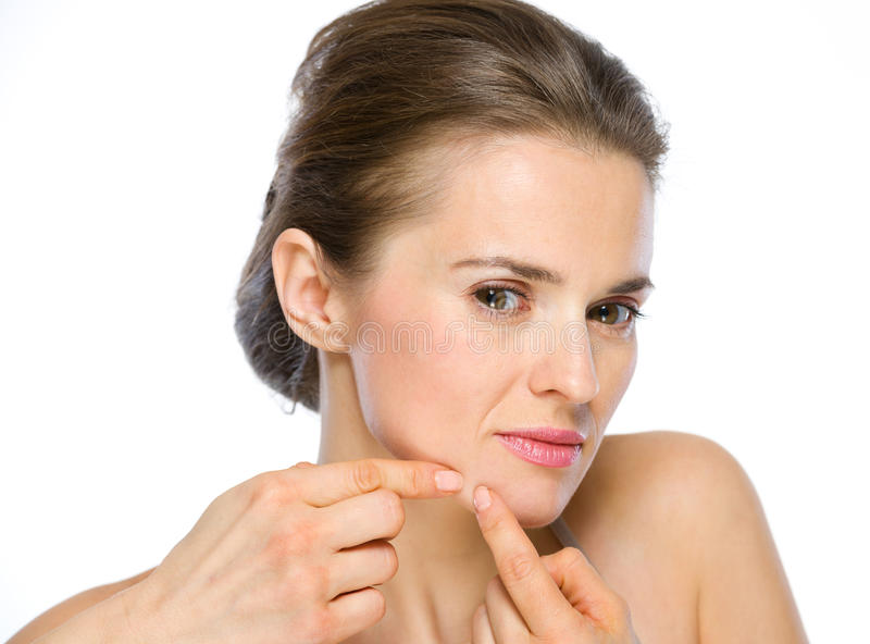 Download Beauty Portrait Of Young Woman Squeezing Acne Royalty Free Stock Photo - Image: 31243105