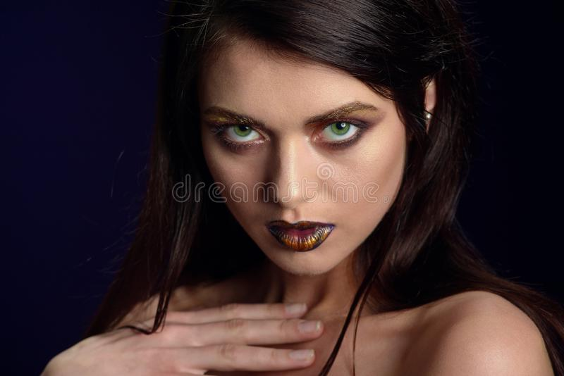 Beauty portrait of a lips of a young woman stock photo