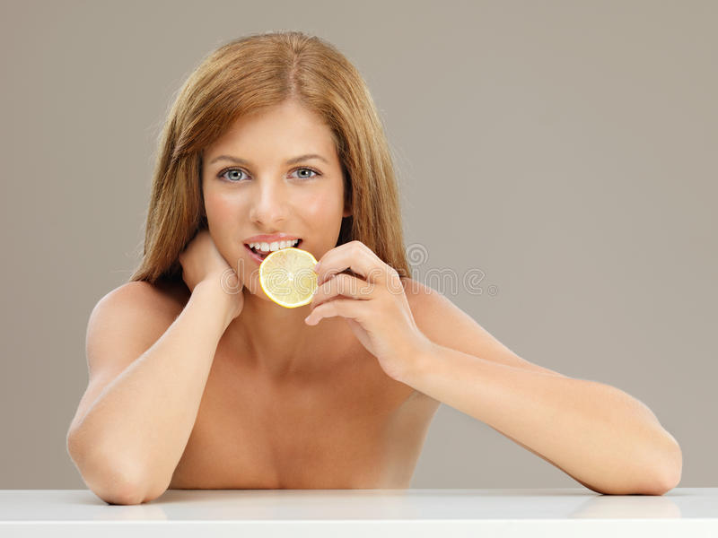 Beauty Portrait Young Woman Tasting Lemon Stock Photos