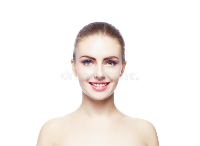 Beauty portrait of a young woman on white royalty free stock photo
